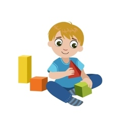 Boy Playing With Blocks vector