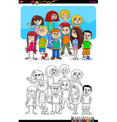 boys and girls characters group color book vector image