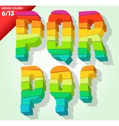 Broken colorful alphabet vector image