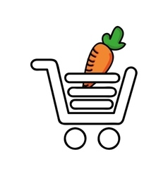 carrot in shopping cart isolated icon design vector image