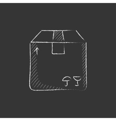Carton package box Drawn in chalk icon vector