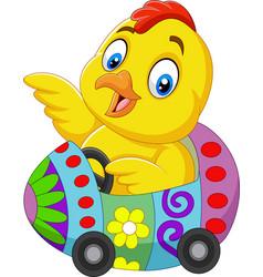 Cartoon baby chick riding an easter egg car vector