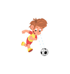 Cartoon boy soccer player playing with a ball vector