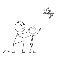 cartoon of father and son watching a wild bird in vector image