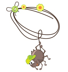 Cartoon spider and cobweb vector