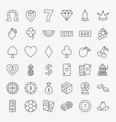casino line icons set vector image