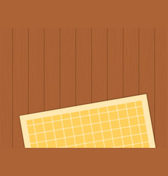 Checkered tablecloth on a wooden surface flat vector