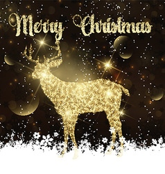 Christmas background with glittery deer vector image