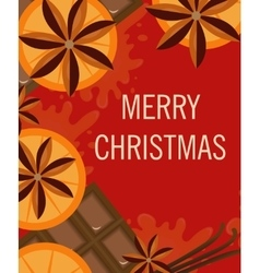 Christmas background with orange and spices Xmas vector