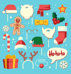 christmas photo booth props santa hat and beard vector image