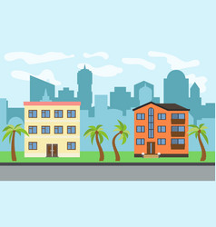 city with two three-story cartoon houses vector image