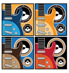 Colorful guitar and speaker systems vector