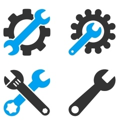 Configuration Tools Flat Bicolor Icons vector