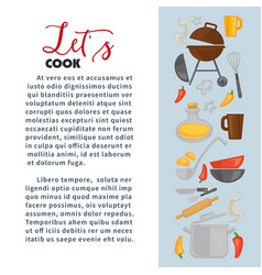 Cooking poster of chef cook utensils vector