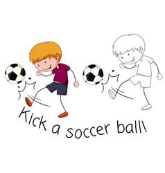 Doodle boy kick a soccer ball vector
