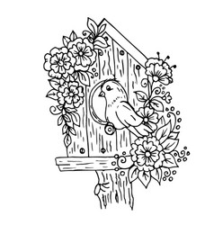doodle cartoon birdhouse with flowers and a bird vector image