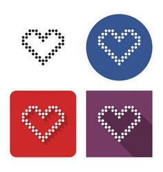 Dotted icon heart in four variants with short vector