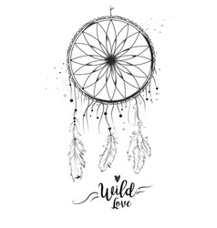 Dreamcatcher with bird feather beads and lace vector