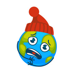 Earth in knitted hat suffer from coldness with sad vector