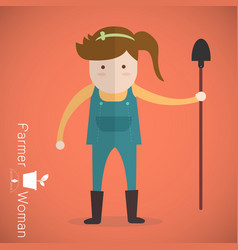 farmer woman with shovel on orange background vector image