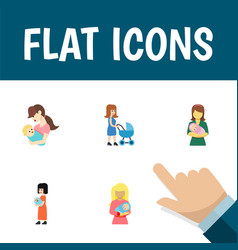 Flat icon mam set of baby perambulator woman and vector