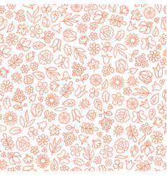 flower icon seamless pattern floral leaves gentle vector image