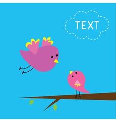 Flying bird and baby bird Card vector image