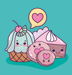food cute dessert cupcake cookies and cake love vector image