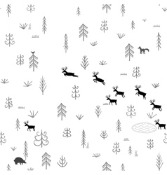 forest life seamless pattern vector image