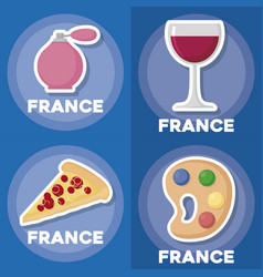 France icon set vector