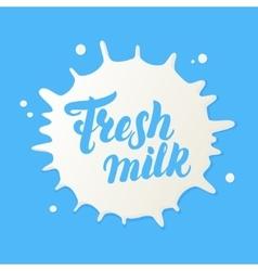 Fresh milk hand written lettering logo vector image
