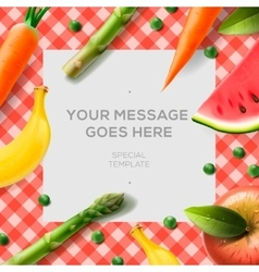Fresh vegetables and fruits on the tablecloth vector