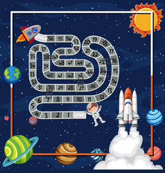 Game template with spaceship slying in space vector