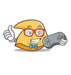 Gamer fortune cookie mascot cartoon vector
