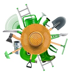 Garden Accessories with Straw Hat vector image