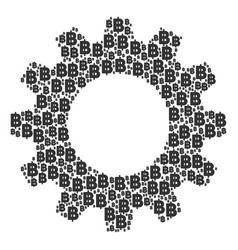 Gear wheel mosaic of baht icons vector