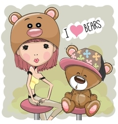 Girl and Bear vector
