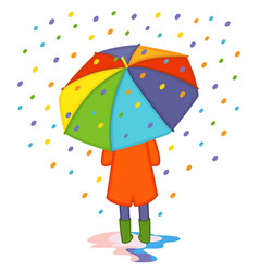 Girl hiding from colored rain under umbrella back vector