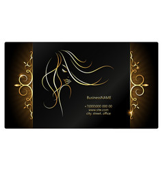 Girl with golden hair and ornament business card vector
