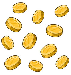 golden coins seamless pattern on white background vector image