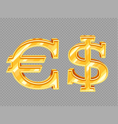Golden dollar and euro signs isolated on vector