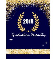 Graduation ceremony banner with golden laurel vector