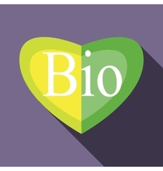 Green BIO heart icon in flat style vector image