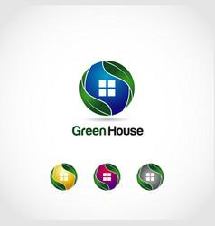 green house logo symbol icon vector image