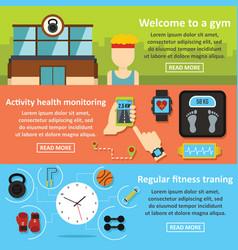 gym training banner horizontal set flat style vector image