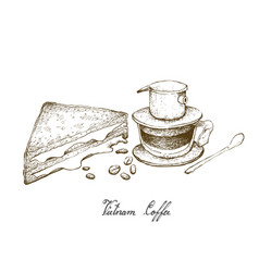 Hand drawn of vietnam coffee with cheese sandwich vector