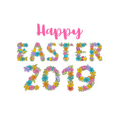 happy easter label cute holiday spring vector image