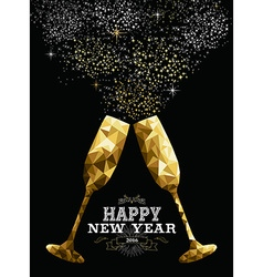 Happy new year 2016 toast glass low polygon gold vector