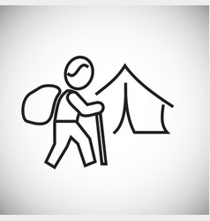 Hiking camp thin line on white background vector