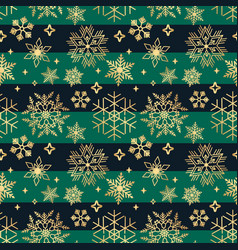 horizontal seamless christmas pattern with golden vector image